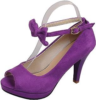 LOVOUO Peep Toe Escarpins Femme Stiletto Talon Aiguille Haut Bride Cheville Chaussure avec Noeud Boucle 9CM