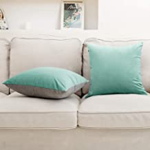 VANZAVANZU Throw Pillow Covers 18 x 18 Inch Set of 2 Velvet Cushion Covers Soft Decorative Square Throw Pillow Cases Throw Pillows for Couch Sofa Bed Car (DV-Teal & Grey)