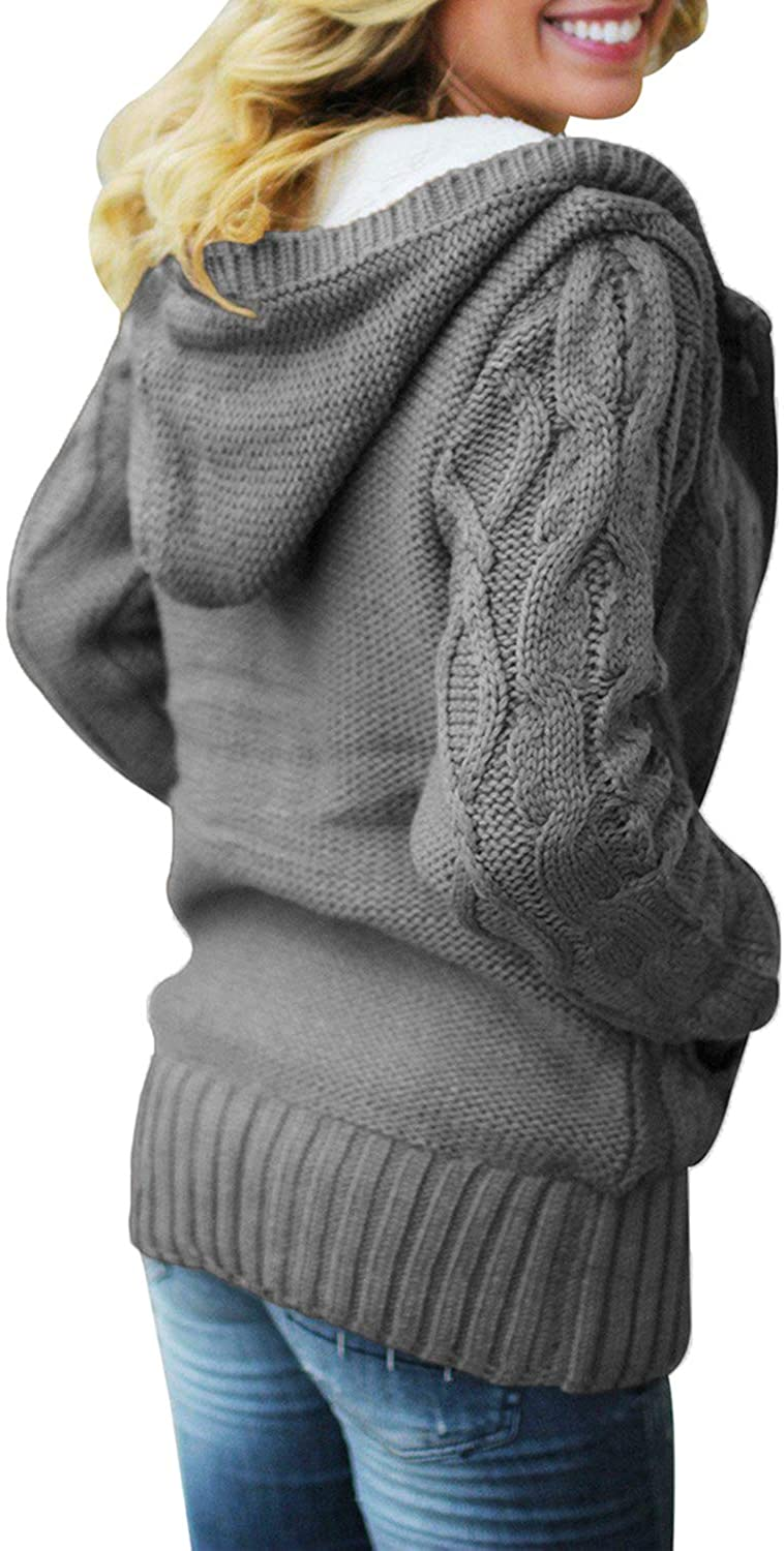 Dokotoo Womens Hooded Cardigans Button Up Cable Knit Sweater Coat Outerwear with Pockets