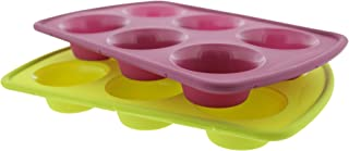 Elbee Baking Non Stick Durable 6 Cup Silicone Cupcake and Muffin Pan Set, Thick Steel Reinforced Rim for Easy and Stable Movement