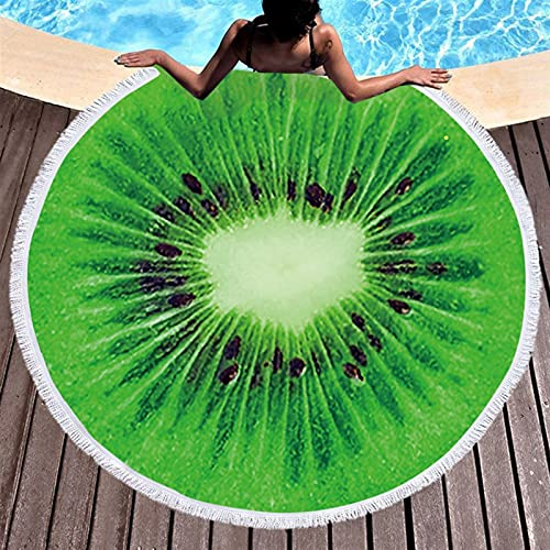 Toalla de playa para frutas, verano, sandía, naranja, kiwi, playa, manta de mar redonda, alfombra de yoga, tapete de picnic, manteau absorbente (color: 4)