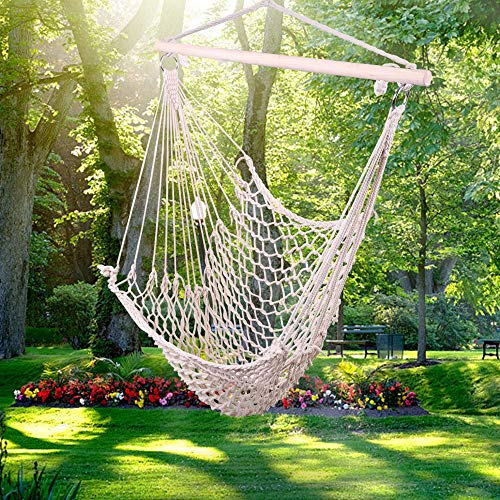 U-Kiss Hammock Chair Hanging Rope Swing-Max 250 Lbs,Cotton Rope Weaving Seat with Hardware Kits,Perfect for Yard, Bedroom, Patio, Porch, Indoor/Outdoor (Beige)