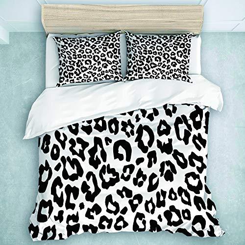 KOSALAER Bedding Juego de Funda de Edredón, Textura de patrón de Leopardo repitiendo Transparente Monocromo Blanco y Negro Nieve Guepardo, de Almohada de Microfibra,140 x 200cm