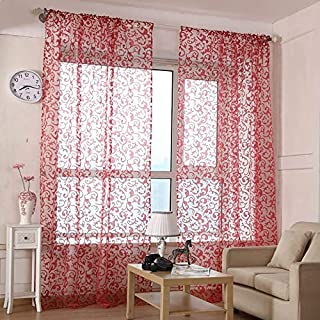 ZZCZZC 1 Set of 2 Panels Red Sheer Curtains European Floral Embroidered Tulle Curtain Panels for Bay Window Rod Pocket Voile Curtains for Living Room Elegant Door Drapes See Through W39 x L84 inch