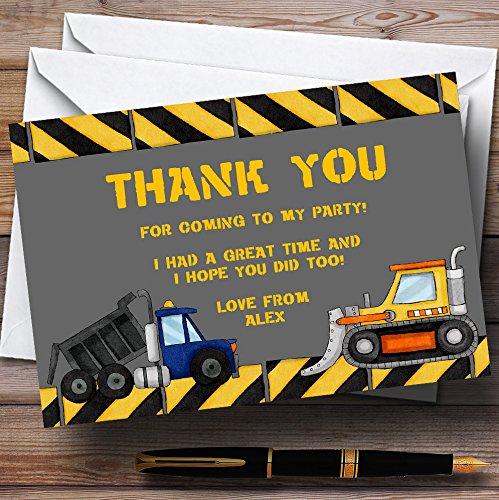 Dumper Truck, Tractor En Digger Gepersonaliseerde Verjaardag Party Dank U Kaarten