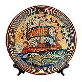 24cm Plato griego, cerámica griega antigua, dios Dionisio en el barco
