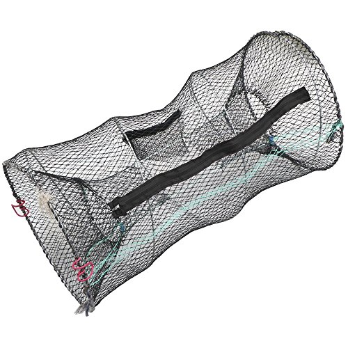 Hillington Collapsible Crab Basket– Great Trap Net for Catching Crabs, Lobster, Shrimp and Crayfish - Features Zipped Access and Bait Pocket - Collapses for Storage