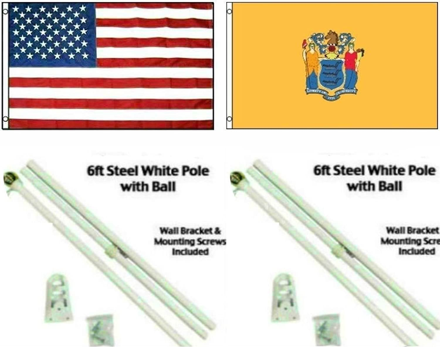 3x5 3'x5' USA American w State of New Jersey Flag w Two 6' White Flagpole Pole Kits Ball Topper