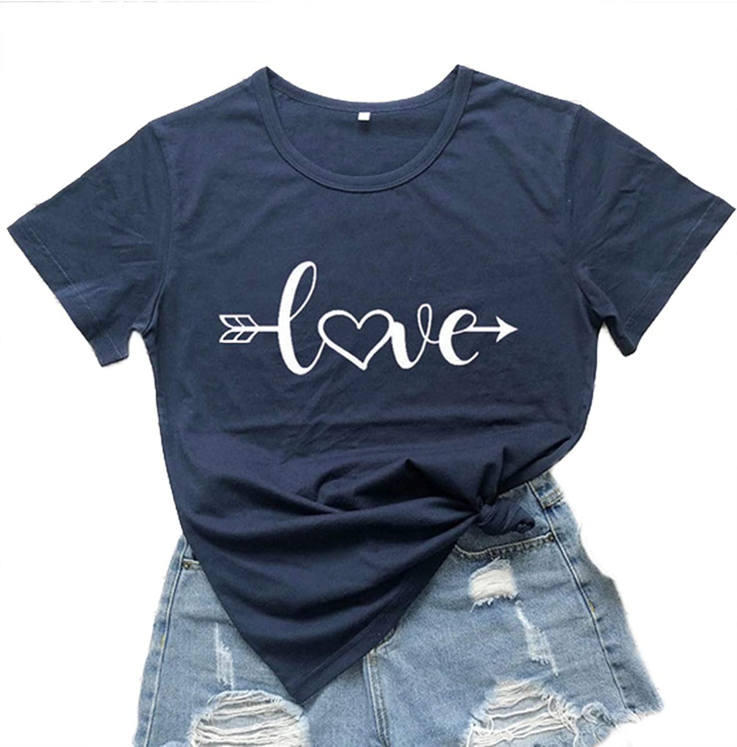 FOBEXISS Womens Valentine/'s Day Shirt Love Letter Printed Short Sleeve Tee Tops Shirts