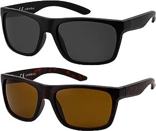 La Optica B.L.M. - La Optica Gafas de Sol LO8 UV400 Deportivas da Hombre y Mujer, Mate Negro (Lentes: 1 x Gris, 1 x marroné)