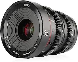 MEKE 35mm T2.2 Large Aperture Manual Focus Low Distortion 4K Mini Cine Lens for Sony E Mount APS-C Cameras and Super 35mm Camcorders FS5 FS7