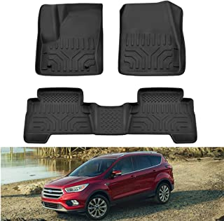 MotorFansClub Floor Mats Liner Fit for Compatible with Ford Escape 2013-2019 All Weather Protector Mat Liners Front Rear 2 Row Seat Liner
