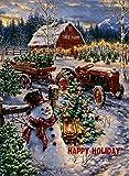 Dyrenson Home Dekorative Weihnachtsflagge Schneemann, Happy Holiday Xmas Zitat Hofflagge mit rotem Traktor, rustikaler Winterbaum, Bauernhof, Gartenhof Dekorationen, Neujahrs-Fahne, 12 x 18...