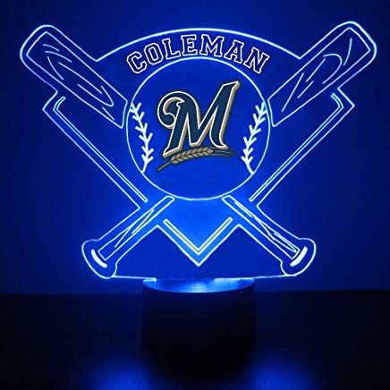 Milwaukee Brewers Baseball LED Night Light Customized/Personalized Gift - Featuring Licensed Decal