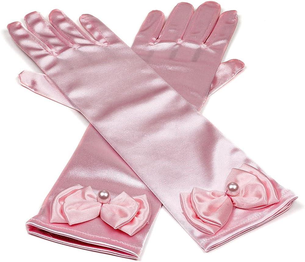 Stretchy Satin Long Finger Bowknot Dress Glove for Girl