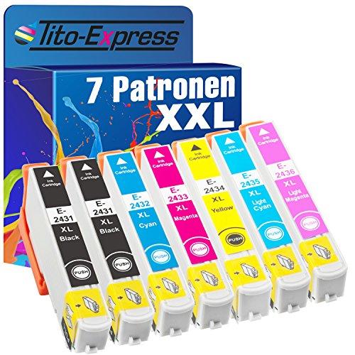 Tito-Express PlatinumSerie 7X Druckerpatrone XXL TE2431 TE2432 TE2433 TE2434 TE2435 TE2436 kompatibel mit Epson Expression Photo XP-55 XP-750 XP-760 XP-850 XP-860 XP-950 XP-960