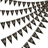 Happy Birthday Banner Bunting Flaggen 5 Stück Gold & Schwarz Funkeln Geburtstag Jahrestag Party Dekoration Zubehör, 7,4 x 10,8 Zoll (18. Geburtstag)