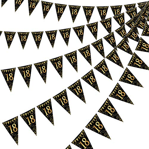 Frienda Happy 18th Birthday Banner Bunting Flags 5 Pieces Gold and Black Glitter 18th Birthday Anniversary Party Decoration Supplies, 7.4 x 10.8 Inch