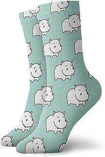 Dydan Tne, Niños Niñas Locos Divertidos Calcetines Blancos Hipopótamo Verde Menta Calcetines Lindos de Novedad