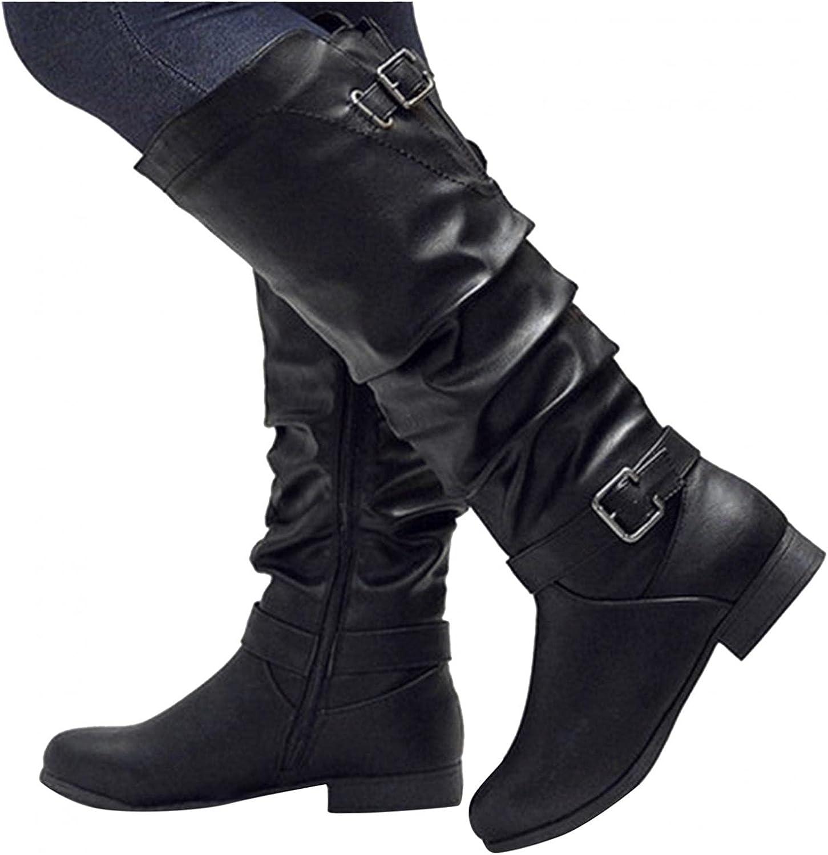 Zieglen Women's Winter Boots, Women's Boots with Belt Buckle Low Heel Mid Booties Western Boots Snow Boots Motorcycle Boots