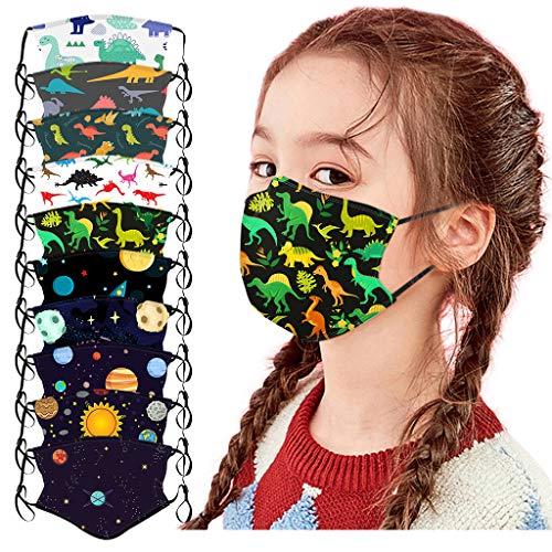 10 Stück Kinder Mundschutz Multifunktionstuch 3D Cartoon Druck Maske Animal Print Atmungsaktive Baumwolle Stoffmaske Waschbar Mund-Nasenschutz Tiermotiv Bandana Halstuch Jungen Mädchen (I-10PC)