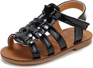 5ef6921eb23dd CYBLING Girls Gladiator Sandals Princess Summer Outdoor Open Toe T-Strap  Flat Shoes (Toddler