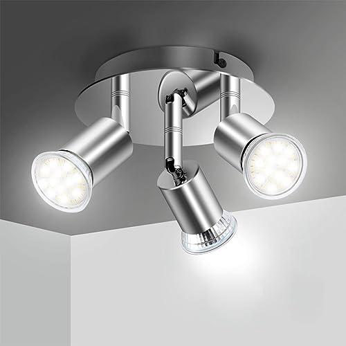 Plafonnier LED 3 Spot Orientable, Elfeland Luminaire Plafonnier 3xGU10 Spot LED Angle Réglable Éclairage de Plafond 2...