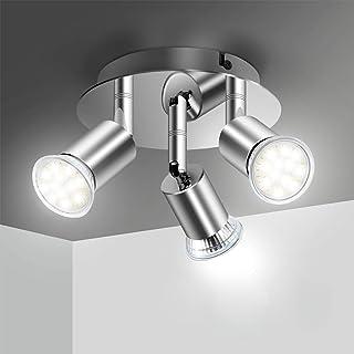 Plafonnier LED 3 Spot Orientable, Elfeland Luminaire Plafonnier 3xGU10 Spot LED Angle Réglable Éclairage de Plafond 220V L...