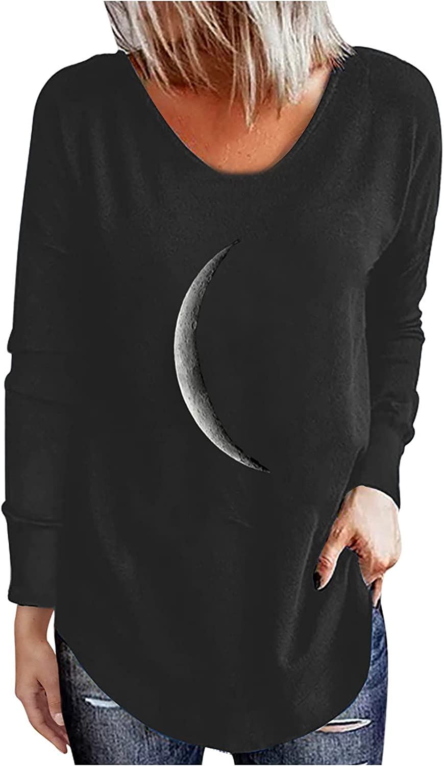 Women's Casual Crewneck Blouses Dandelions Moon Feather Print Workout Long Sleeve Shirts Vintage Loose Pullover Tops