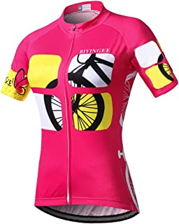 BIYINGEE Women's Cycling Jersey Short Sleeve with Big Reflective Tape