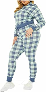 Rimi Hanger Womens Check Knitted Hoodie Slim Leg Trousers Set Ladies Active Sports Tracksuit