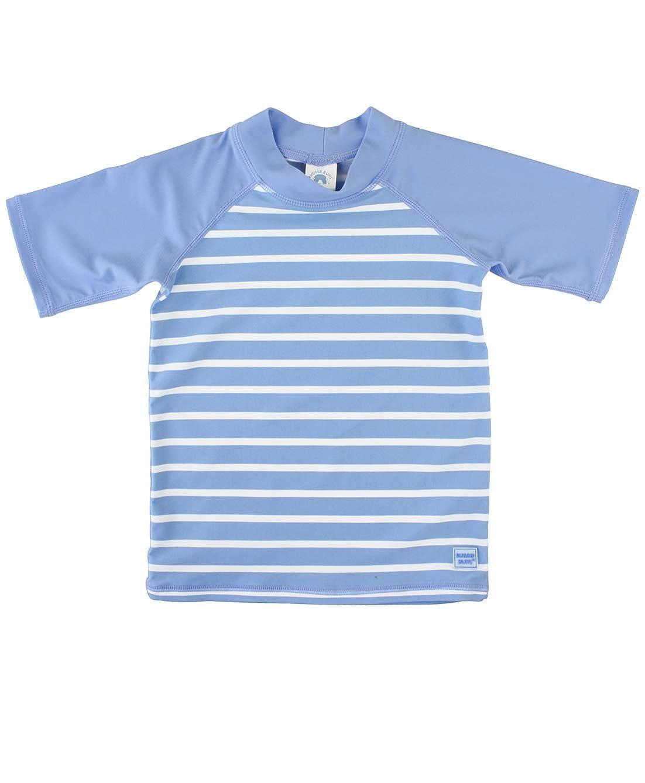 RuggedButts Baby/Toddler Boys Short Sleeve Striped Rash Guard Swim Shirt with UPF 50+ Sun Protection