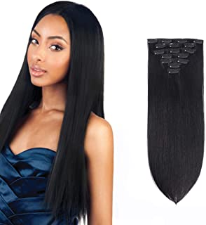 IVCoco Hair Extensions Clip in Human Hair Double Weft 100% Remy Human Hair Thick to End Straight for Woman 70Gram (18inch, 1)