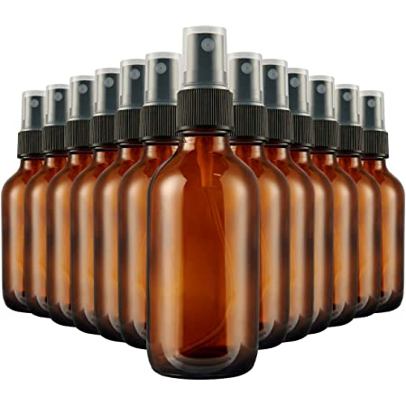 2Oz Glass Spray Bottles 30 Pack, Hoa Kinh Small Amber Mist Spray Bottles, 2 Ounce Empty Refillable Containers (2oz-30pack)