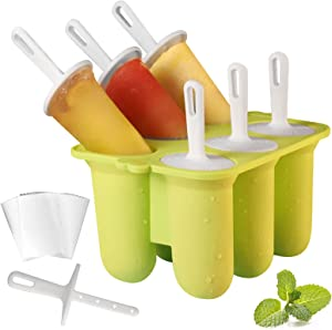 Silicone Popsicle Molds Kits,6 Pack Food Grade Homemade Popsicles,BPA Free Frozen Ice Popsicle Maker, Ice Cream Mold, Ice Pop Molds Maker with Sticks, 50 Popsicle Bags, Funnel,Brush (Green)