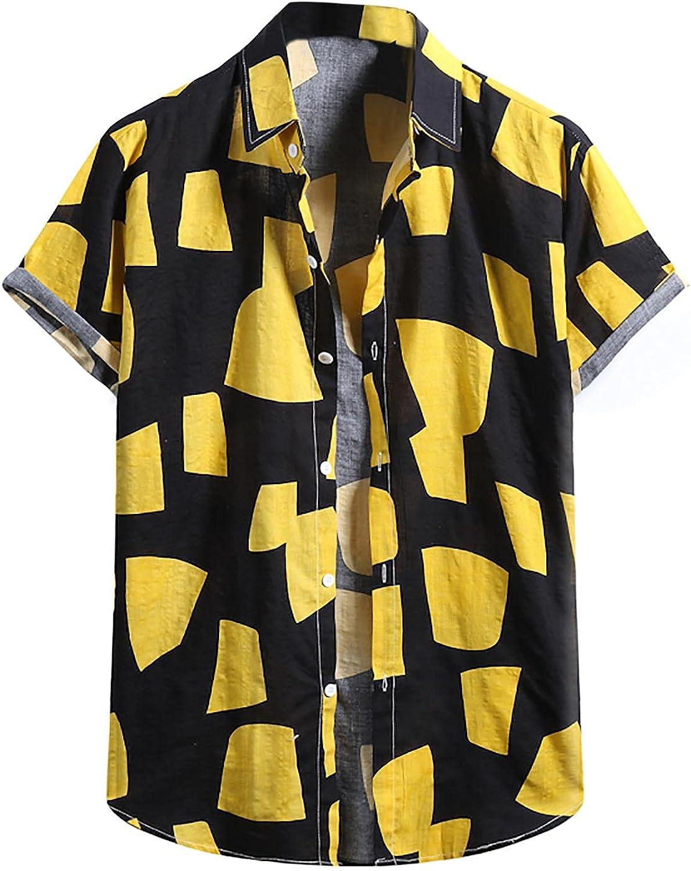 Men's Stylish Short Sleeve Button Down Casual Shirts Summer Aloha Hawaiian Shirt