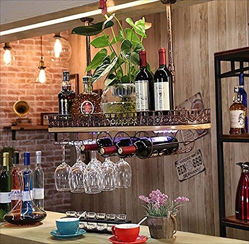 Botelleros Bar suspensión Barra de Bar Estante del Vino Restaurante Hogar Copas de Vino Estante invertido Retro Arte de Hierro + Madera Maciza Bastidores de Vino Techo botelleros de Vino