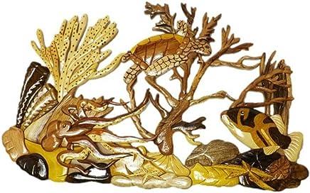 40de05e24 Coastal Wood Factory Handmade Art Intarsia Wooden Wall Plaque - Coral  Reef(1604)
