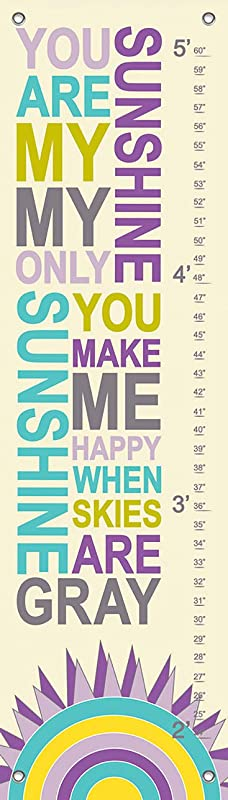 Oopsy Daisy Growth Charts My Only Sunshine Purple By Finny And Zook 12 By 42 Inch