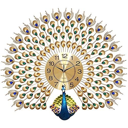 JINGZI Reloj de Pared de Pavo Real, Reloj de Pared Digital de Metal Iron Art Silent Non-Ticking, Significado Auspicioso y Lujoso, Reloj de Cuarzo montado en la Pared con Rhinestones 70 cm * 65 cm