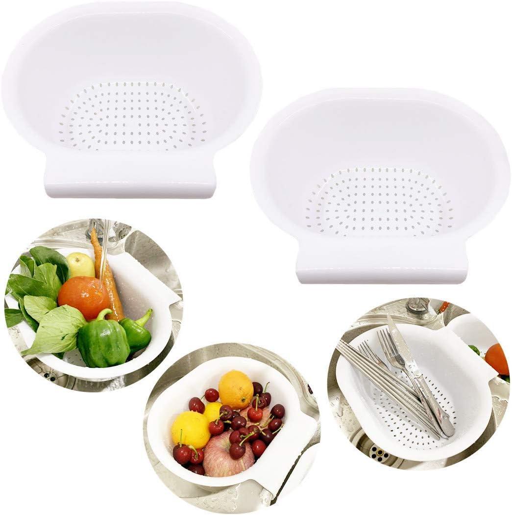 Max 89% OFF 2PCS white Plastic Colanders Save money Strainer vege washing beans basket