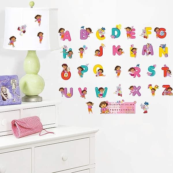 MaxLight Dora Cute Carton Alphabet Vinyl Wall Sticker A To Z 26 English Letters DIY Wall Art Decals For Kid Rooms Classroom Decor
