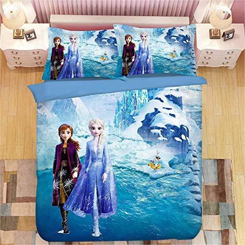 Disney Die Eiskönigin Bettbezug für Mädchen, Cartoon-Anime-Charaktere, Elsa, Anna Olaf, Mikrofaser-Bettwäsche-Set, für Teenager, Erwachsene, Einzelbett, Doppelbett M, 135 x 200