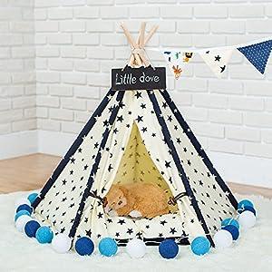 Dewel Tente pour Les Chiens Chats en Toile et Bois Nid d'animaux Pet Maison Amovible et Lavable Dentelle Blanc
