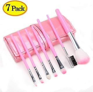 SeveGood メイクブラシ 柔らかい毛先 高級タクロン 化粧ブラシ 化粧筆 パウダーもリキッドも対応出来ます 7本セット メイクブラシセット 専用ポーチ付 (ピンク)