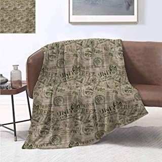 jecycleus Grunge Commercial Grade Printed Blanket Nostalgic Pins from Different Countries Uniform Style Graphic Design Pattern Queen King W70 by L84 Inch Tan Army Green