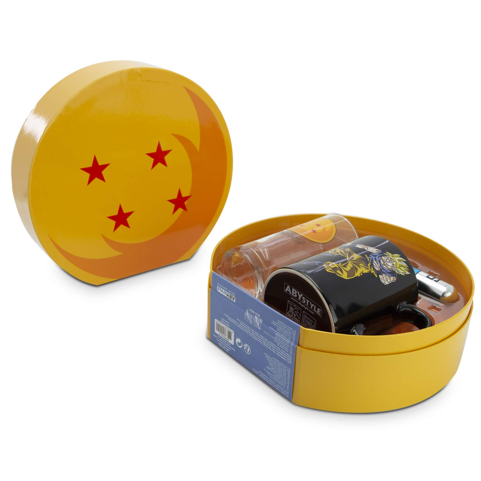 ABYstyle - Dragon Ball - Caja de Regalo con Bolas de Cristal Premium - Vaso + Llavero 3D + Taza Termo-reactiva: Amazon.es: Hogar