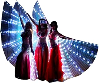 LED Isis Wings Glow Light Up Belly Dance Costumes with Sticks Performance Clothing Carnival Halloween