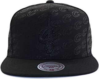 Mitchell & Ness Cleveland Cavaliers NBA Dark Repeater All Over Tonal Print Adjustable Snapback Hat