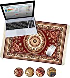 Oriental Rug Large Desk Mouse Pad Desktop Mat, Fun Home Office Desk Decor, Carpet Style Persian Mousepad, XL Extended Laptop Big Writing Blotter Protector Funny Computer Accessories (Red)